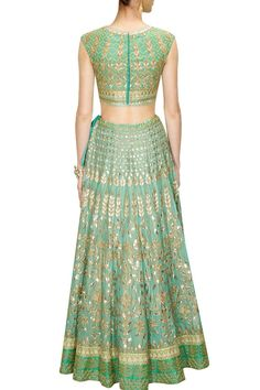 This Aqua color Bridal Lehenga Choli is featuring in georgette fabric embellished with traditional gota patti embroidery. This Aqua color Bridal Lehenga Choli is paired with seafoam round neck embroid Lehenga Choli Online, Bridal Lehenga Choli, Red Lehenga, Indian Lehenga, Pakistani Dresses, Indian Dresses, Indian Outfits, Ethnic Outfits, Indian Engagement Outfit