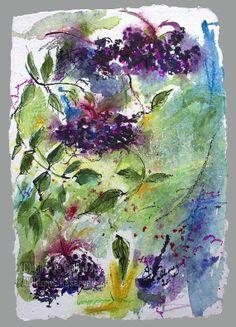 Contemporary #Botanical #Art Wild #Elderberries Holunder Beeren Original by GinetteFineArt, $499.00