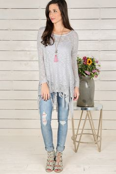 Toggle To The Top Sweater-Grey - New Today