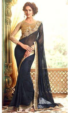 Shop festive Black Party wear Designer Saree (SKU Code : SAEJDSTFH17009) Online at IshiMaya Fashion