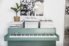 Vintage piano painted green