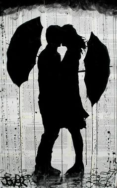 Silhouette of a Man & Woman with Umbrellas .................. #DIY #crafts