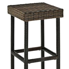"""Palm Harbor Outdoor Wicker Bar Height Stool (Set of 2), 29"""", Brown"""