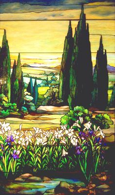 Tiffany stained glass window from the Smith Museum of Stained Glass at Navy Pier in Chicago, Illinois.