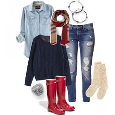 Light blue button-up shirt, blue oversized sweater, red & beige plaid scarf, jeans & red rain boots - These are so cute! I um! Fall Winter Outfits, Autumn Winter Fashion, Fall Fashion, Fashion 2014, Winter Style, Casual Outfits, Cute Outfits, Fashion Outfits, Red Rain Boots