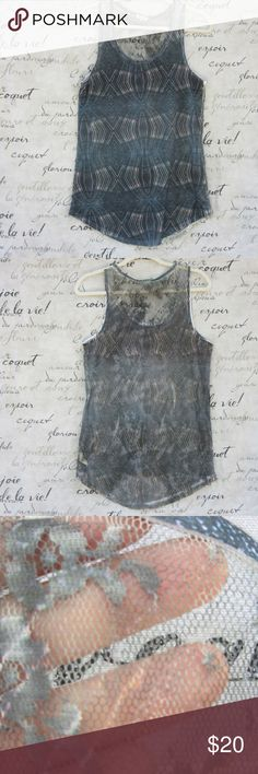 """Urban Outfitters Silence & Noice Lace Back Tank Dark blue gray intermingled with light blue and pink abstract print on a scoop neck tank top. Conservative in the front and a party in the back. The back is all lace. 32"""" long; 18 1/2"""" across underarms. True to size and in almost perfect condition. Urban Outfitters Tops Tank Tops"""