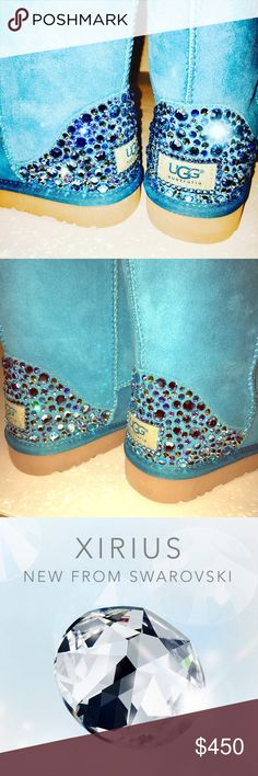 Swarovski Bling Ugg Sheepskin Classic Short Boots 💎 Authentic New Women's Classic Short Sheepskin Ugg Boots in Surf Blue w/ hand placed Swarovski Crystal Detail on heels.   💎 Boots are custom hand made to order and typically ship within 2 weeks.  💎 I have over 20 years experience working with Swarovski crystals and my work is very neat and clean.  You will love these shoes!! 😁  💎 All customization is done in a smoke/pet free environment so your boots will be free of any odors or…
