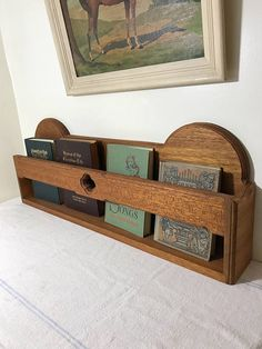 Wood Hymnal Rack - Church Pew - Wall Shelf - Cookbook Holder - Nursery Display - Book Storage - Vintage Decor - Farmhouse Style - Childdren