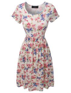 LE3NO Womens Floral Print A-Line Skater Dress
