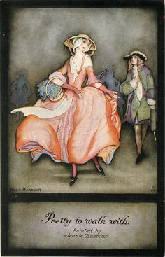 Pretty to walk with Vintage Pictures, Vintage Images, Art Deco Illustration, Art Deco Fashion, Rococo Fashion, Heart Art, Character Drawing, Stone Art, Print Pictures