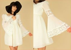 ViNtAgE 60's Scalloped LACE Gauze Cotton Babydoll ANGEL Wing Bell Sleeve Mini Dress S
