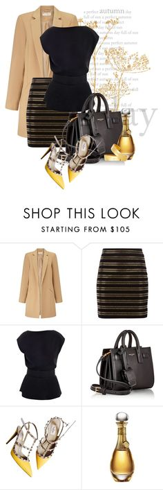"""""""old gold"""" by kiera-van-witte ❤ liked on Polyvore featuring Miss Selfridge, Balmain, Raoul, Yves Saint Laurent, Valentino, Christian Dior and Maiyet"""