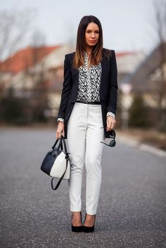 Black blazer, white pants, printed black and white shirt with black stilettos. Balayage, ombre hair style, perfect work or interview outfit!