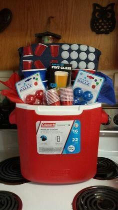 Gifts for him. Beer pong cooler gift basket. Bachelor raffle. Stag party gift. Bachelor party raffle. Reusable solo cup pong cups. #SurprisegiftsForHim