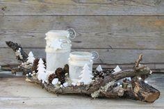Havas fenyők - karácsonyi asztaldísz mécsessel, Dekoráció, Otthon, lakberendezés, Ünnepi dekoráció, Gyertya, mécses, gyertyatartó, Meska
