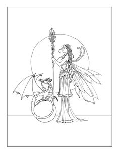 Free Fairy and Dragon Coloring Page by Molly Harrison www.mollyharrisonart.com