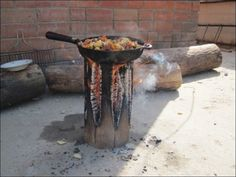 How to make a stove from a single log. Commonly known as a 'Swedish Fire Torch',