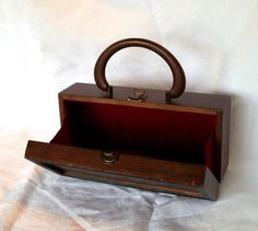 1968 Royal London Wood Box Purse Burgundy Velvet by pinkpainter