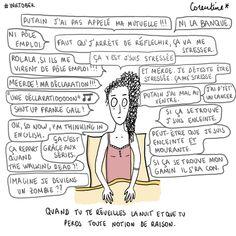 La dessinatrice Corentine a illustré ce qui se passe dans notre tête quand on réfléchit à n'importe quoi dans son lit. Marketing Goals, Inbound Marketing, Pictures Online, Self Confidence, Insomnia, Storytelling, Psychology, Laughter, Coaching