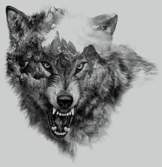 """""""Wolf Collage"""" for t-shirt design by Eddie Yau 