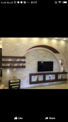 8 Blindsiding Ideas: False Ceiling With Fan Interior Design false ceiling lights modern.False Ceiling Bedroom Tips false ceiling rustic dream kitchens.False Ceiling For Hall Design. House Ceiling Design, Ceiling Design Living Room, Bedroom False Ceiling Design, Tv Wall Design, Tv Unit Interior Design, Home Interior, Restaurant Design, Deco Tv, Tv Wanddekor
