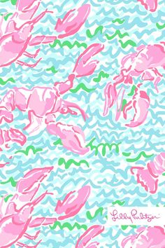Lobstah Roll Lilly Pulitzer iPhone Wallpaper