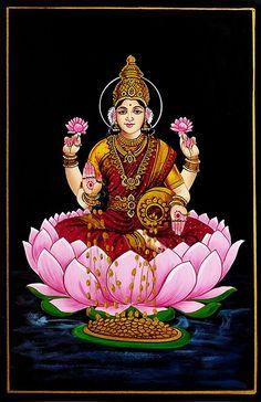 Dhana Lakshmi - Nirmal Painting on Wood - Folk Art Paintings (Nirmal Paintings on Wood) Hanuman Images, Lakshmi Images, Lord Krishna Images, Ganesh Images, Durga Painting, Madhubani Painting, Indian Traditional Paintings, Indian Art Paintings, Saraswati Goddess