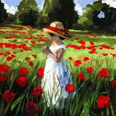 Sherree Valentine-Daines Limited Edition Prints - Collectors Prints : Field of Dreams II by Sherree Valentine Daines, Limited Edition Board Hand Embellished Canvas Print at Collectors Prints Watercolor Art, Art Painting, Landscape Paintings Acrylic, Landscape Paintings, Beginner Painting, Poppy Painting, Painting Inspiration, Painting, Red Poppies