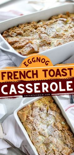 A sweet breakfast idea for a crowd! This overnight french toast casserole infused with eggnog is an impressive holiday twist on the classic. The bourbon glaze adds a decadent finish! Put this on your list of Christmas brunch recipes! Breakfast Casserole With Biscuits, Easy Breakfast Casserole Recipes, Overnight Breakfast Casserole, French Toast Casserole, Brunch Recipes, Eggnog French Toast, Sweet Breakfast, Breakfast Ideas, Overnight French Toast