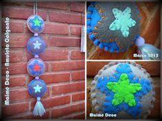 Maimé Deco Amuleto colgante de cuatro piezas! 45 cm de largo - Paño, polar y pompones...