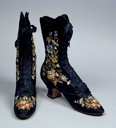 Victorian embroidered boots, circa 1885