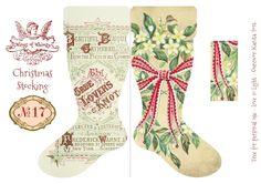 Vintage Christmas stocking printable
