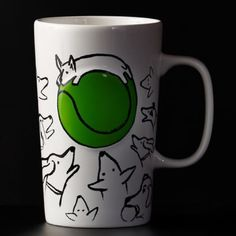 Puppies and tennis ball Starbucks. Dog Sketch Mug, 16 fl oz. A ceramic coffee mug featuring sketches of dogs drawn to a giant green ball. Part of the Dot Collection. Perfect for dog lovers, this collectible mug is filled with playful pups surrounding a tennis ball center dot. Raised green center dot. Holds 16 fl oz. Dishwasher and microwave safe. No trade or pp Accessories