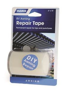 """RV Awning Repair Tape, 3"""" x 15'.  Permanent repair for rips and punctures.  Aggressive adhesive which resists tearing in any direction.  Use for RV awnings, boat sails, canvas, tents, rainwear, backpacks, pool covers and liners, seat covers, popup campers and more.      Permanent Repair For Rips And Punctures"""