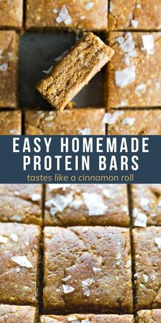 These easy homemade protein bars taste like a cinnamon roll, and have 7 g protein per bar! Easy to prepare with simple ingredients, and they taste way better than store bought. Best Breakfast Recipes, Snack Recipes, Study Snacks, Healthy Chips, Work Lunches, Sweet Tarts, Protein Bars, Amazing Recipes, Dessert Bars