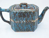 WADES England Teapot - Marbled Blue Gold Vintage England - Porcelain Ceramic Serving Collectible- Spongeware Pottery