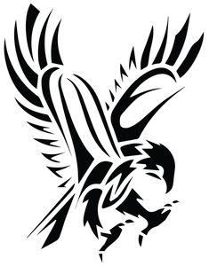 Black Tribal Flying Hawk Tattoo Stencil                                                                                                                                                                                 More