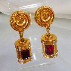 Vintage Earrings. Rare Marie Paris Haute Couture Gripoix Earrings. Gold Plated Faux Ruby Glass and C