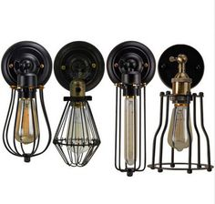 more nice wall lamps. poss a bit too hipster (ie was out of fashion 5 mins ago) Vintage Pendant Lighting, Rustic Chandelier, Wall Fixtures, Light Fixtures, Antique Wall Lights, Porch Lighting, Industrial Metal, Steel Wall, Vanity Lighting