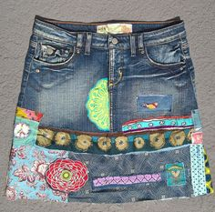 tattered hippie tattered boho skirt gypsy shabby jean by SewUnruly