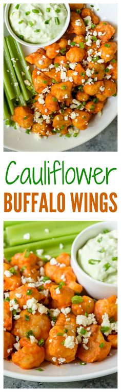 Cauliflower Buffalo Wings with Blue Cheese Avocado Dip. Light and crispy baked cauliflower bites with spicy Buffalo sauce. The perfect football party appetizer!