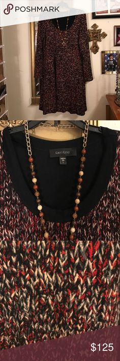 Karen Kane Black & Red L/S Stretchable Dress 👗 Karen Kane Black & Red L/S Stretchable Dress 👗. Very beautiful and great condition made in the USA. Comes from a non-smoking home pet free. I ship Monday Wednesday Friday. If you have any questions please ask! Karen Kane Dresses Midi