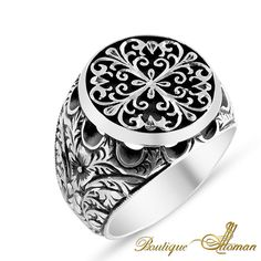 #unique Hand Made Silver Man Ring Silver Oval Space  #jewelry #ottoman