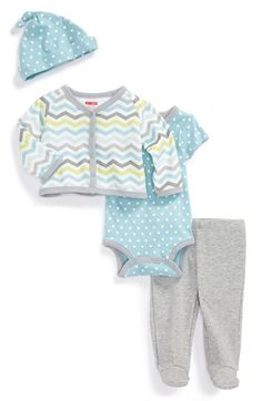 Skip Hop 'Take Me Home' Wrap Bodysuit, Cardigan, Footed Pants & Hat (Baby Boys) available at #Nordstrom