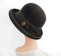 1960s derby hat, vintage brown tilt, Mr. John Classic by TheVintageHatShop on Etsy