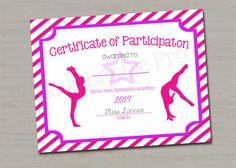 Dance certificate gymnastics certificate printable digital file 85 gymnastics award certificate dance award printable digital file 85 x 11 yelopaper Gallery