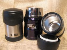 """To-go lunch ideas...love the individual puddings and putting hot stuff in a """"preheated thermos"""""""