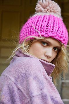 Cozy Up Color Block Pom Beanie by Free People, Pink, One Size Stay Warm, Warm And Cozy, Tie Dye Jackets, Velvet Scrunchie, Sweater Set, Pom Pom Hat, Waffle Knit, Free Clothes, Knit Beanie