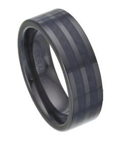 Black Ceramic Ring With Black Carbon Fiber Inlay - JC0002