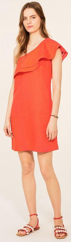 Tory Burch Solid Ruffle One-Shoulder Dress